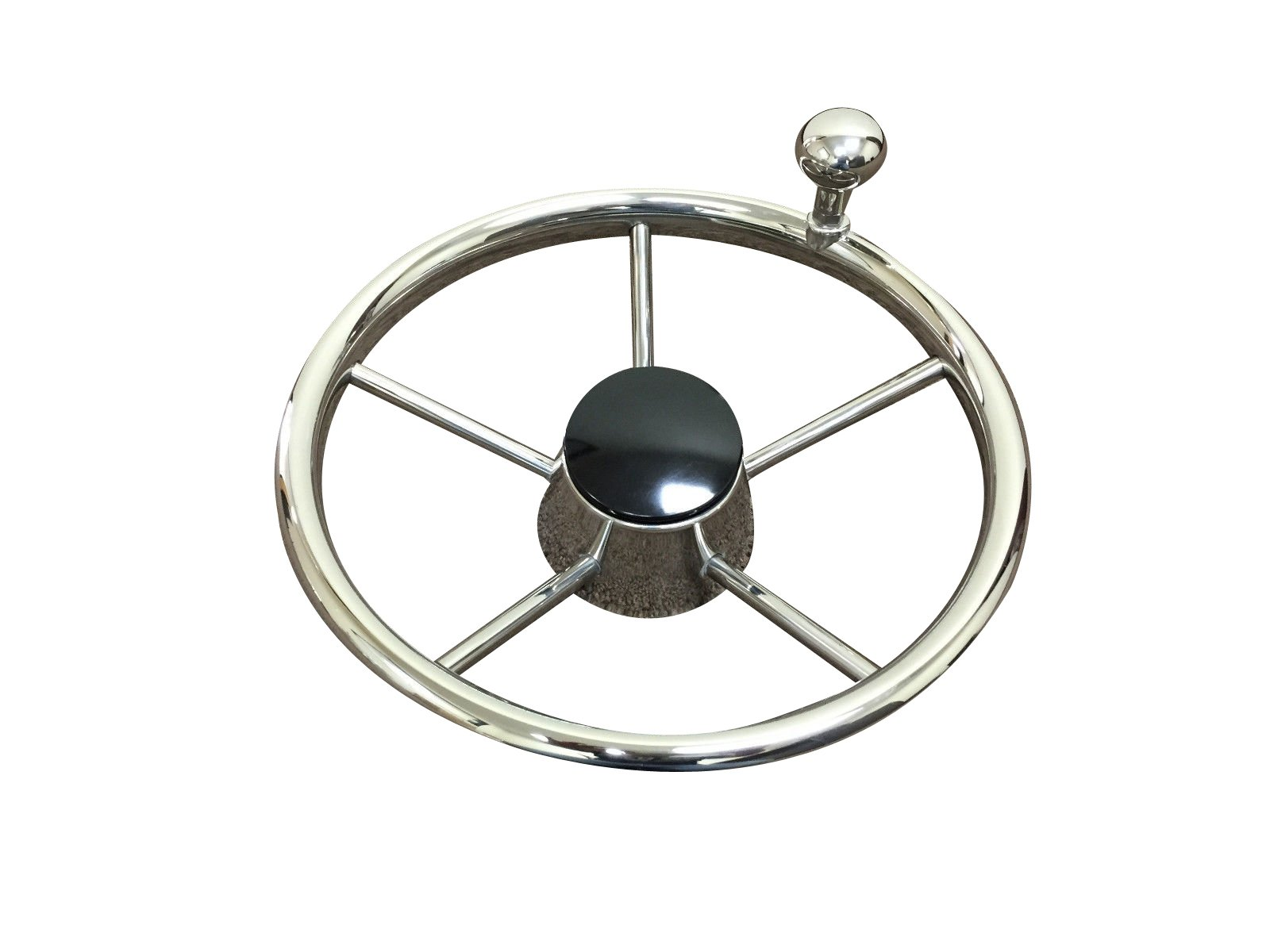 Pactrade Marine 5 Spoke Stainless Steel Steering Wheel with Turning Knob, 11'' L
