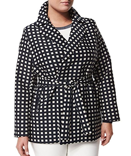 Marina Rinaldi Women's Tea Belted Squares Jacket 20W / 29 Navy