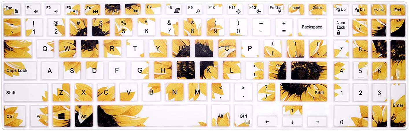 WYGCH Silicone Keyboard Cover Skin for Dell Inspiron 15 3000 5000 Series/New Inspiron 17 3000 Series/Inspiron 17 7786 /G3 15 17 Series/New G5 15 Series/for Dell G7 15 17 Series-Sun Flower