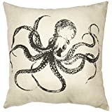 OliaDesign Octopus Cotton Linen Square Decorative Throw Pillow Case Cushion Cover about 17.3 17.3 Inch(44CM 44CM)