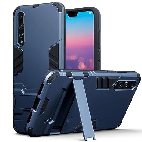 TERRAPIN Huawei P20 Pro Carcasa Híbrida de Silicona + Polycarbonato Doble Resistencia, y soporte para mesa - Azul oscuro