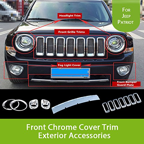 Highitem 12PCS(Full Set ) Chrome ABS Front Bumper Guard Plate Fog Head Lamp Cover Grille Grill Vent Hole Trim Ring Insert for Jeep Patriot 2011-2016