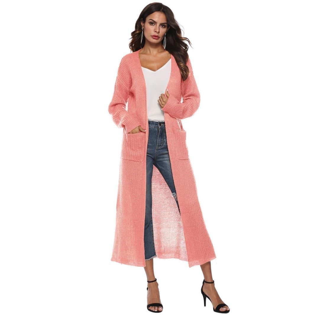 Xchenda Women Long Sleeve Open Cape Casual Loose Knitted Sweater Coat Blouse Kimono Jacket Cardigan (S, Pink)