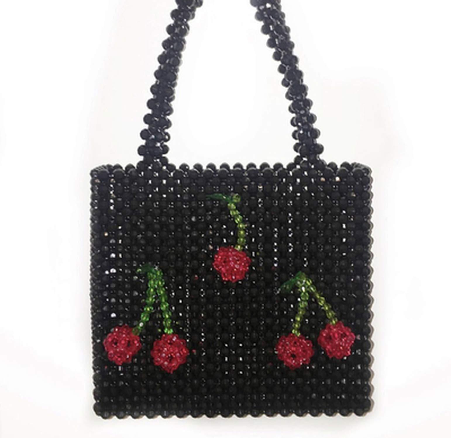 Pearls bag beaded cherry box totes bag women evening party handbag bags luxury brand,black pearl,20x20x7CM