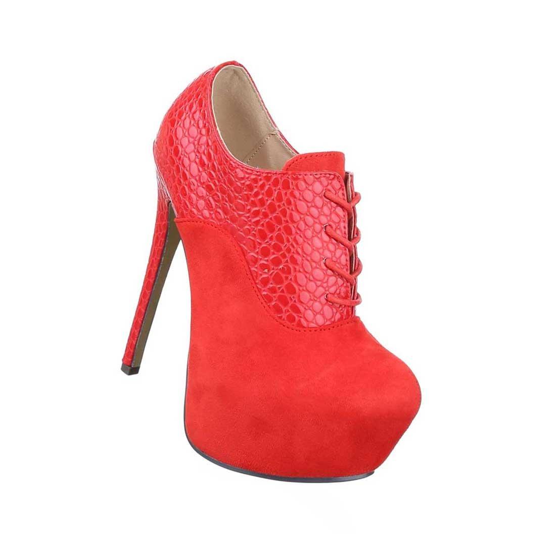 Damen Stiefeletten Schuhe Ankle Stiefel High Heels Schwarz Blau Rot 35 36 37 38 39 40 41
