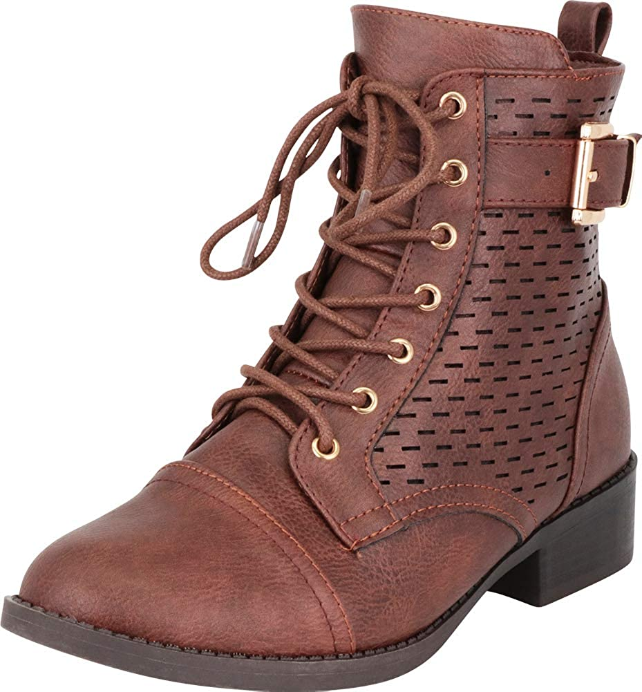 Brown Pu Cambridge Select Women's Perforated Buckled Strap Lace-Up Combat Boot