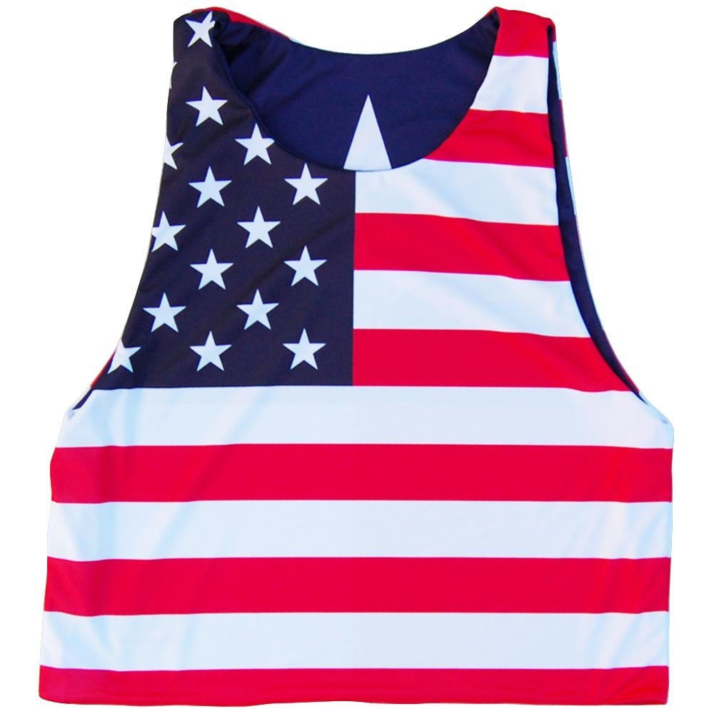 XX-Large Texas Flag and American Flag Lacrosse Pinnie Navy /& Red