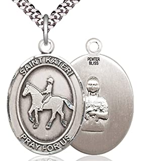 USA Made Heartland Store Mens Pewter Oval Saint Catherine of Siena Medal Chain Choice