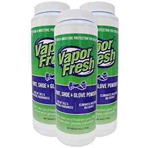 Vapor Fresh Foot Shoe and Glove Powder - All Natural Shoe Deodorizer - Powerful Foot Odor Eliminator for Stinky Feet - 6 Ounces (3 Pack)