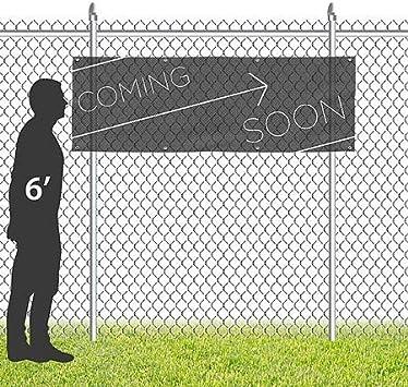 12x4 Coming Soon CGSignLab Basic Black Wind-Resistant Outdoor Mesh Vinyl Banner