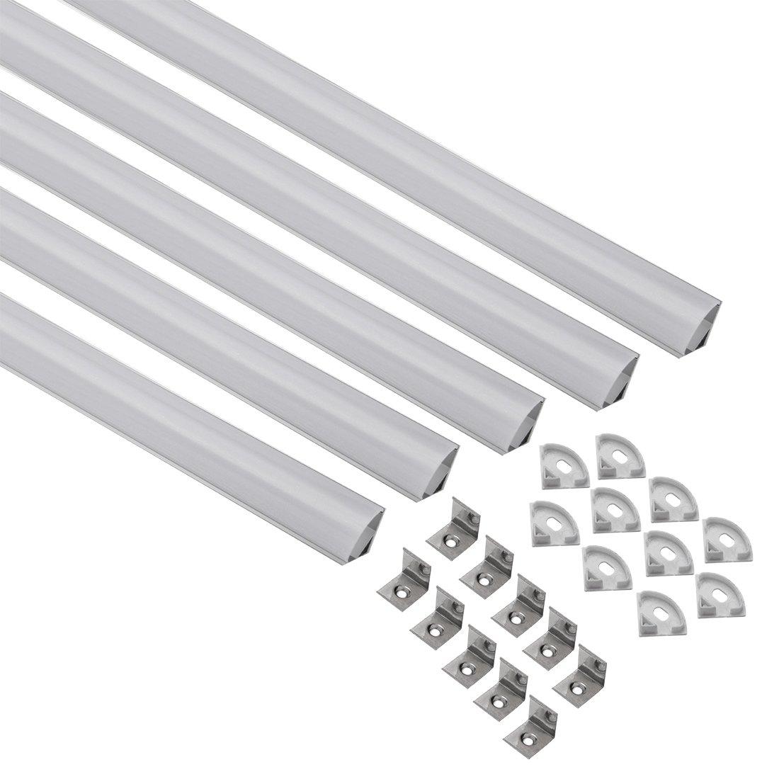 uxcell V-Shape LED Aluminum Channel System with Milky White Cover for LED Strip Light, CN601(1mx15.8mmx15.8mm) - 5 Packs