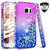 LeYi Case for Samsung Galaxy S7 with Glass Screen Protector [2 pack], Glitter Liquid Flow Luxury Clear Transparent Diamond Personalised TPU Silicone Shockproof Cover Samsung Galaxy S7 G930 Purple Blue