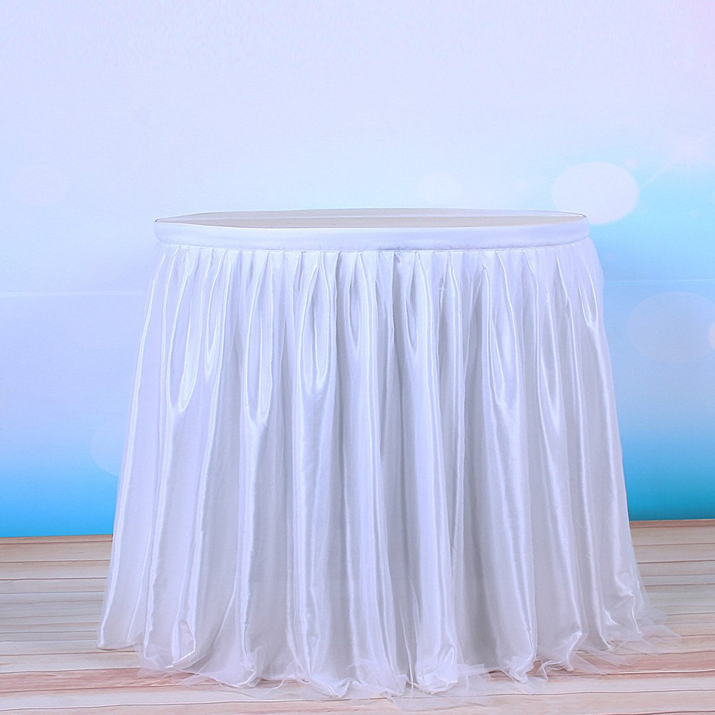 Ocamo Table Skirt Table Decoration Fashion Color and Style with Tulle Elegant Party Wedding Decoration(Long Tulle) white; 6FT by Ocamo