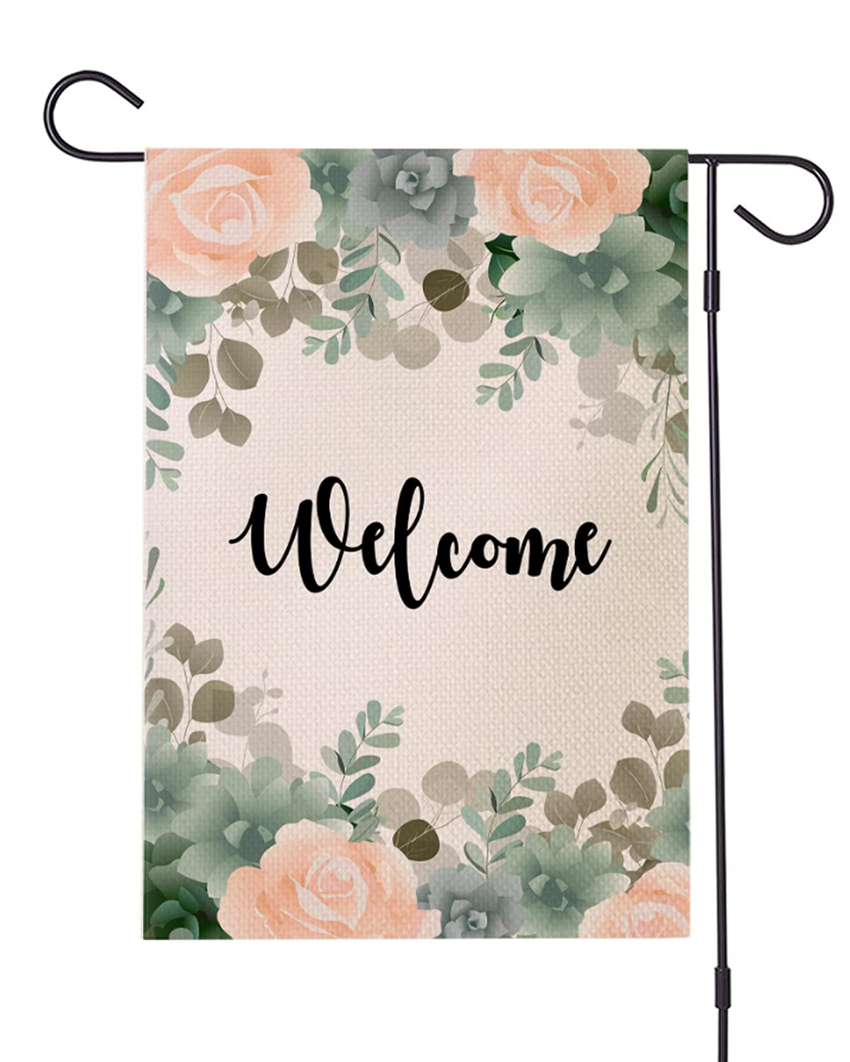 12×18in Floral Welcome Garden Flag with Green Leaves & Pink Flowers,Burlap Double Sided Vertical Yard Flags for Ourside Decor