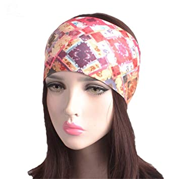 8ec327920ca Amazon.com   Women Elastic Turban Headband Sport Yoga Headbands Ethnic Wide  Stretch Hair Band E Size fits all   Beauty