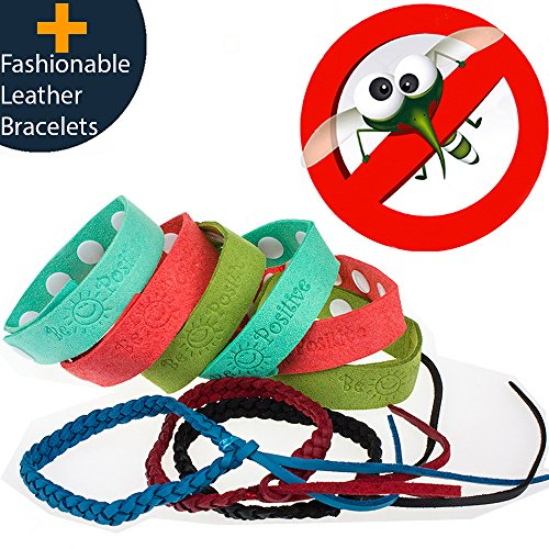 Mosquito Repellent Bracelet 9pcs 100% All Natural Plant-Based Oil Non-Toxic Travel Insect Repellent Safe Deet Free Band Soft Super microfiber Material Protection Outdoor - Indoor for Adults & Kids