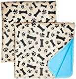 Washable Pee Pads for Dogs Whelping Reusable (2-Pack) Quilted Large 35 x 31 Extra Absorbent Layered Waterproof Mat Puppy Adult Senior Pets Pooch | Home Travel or Crate Training Whelping Dog Wee Wee