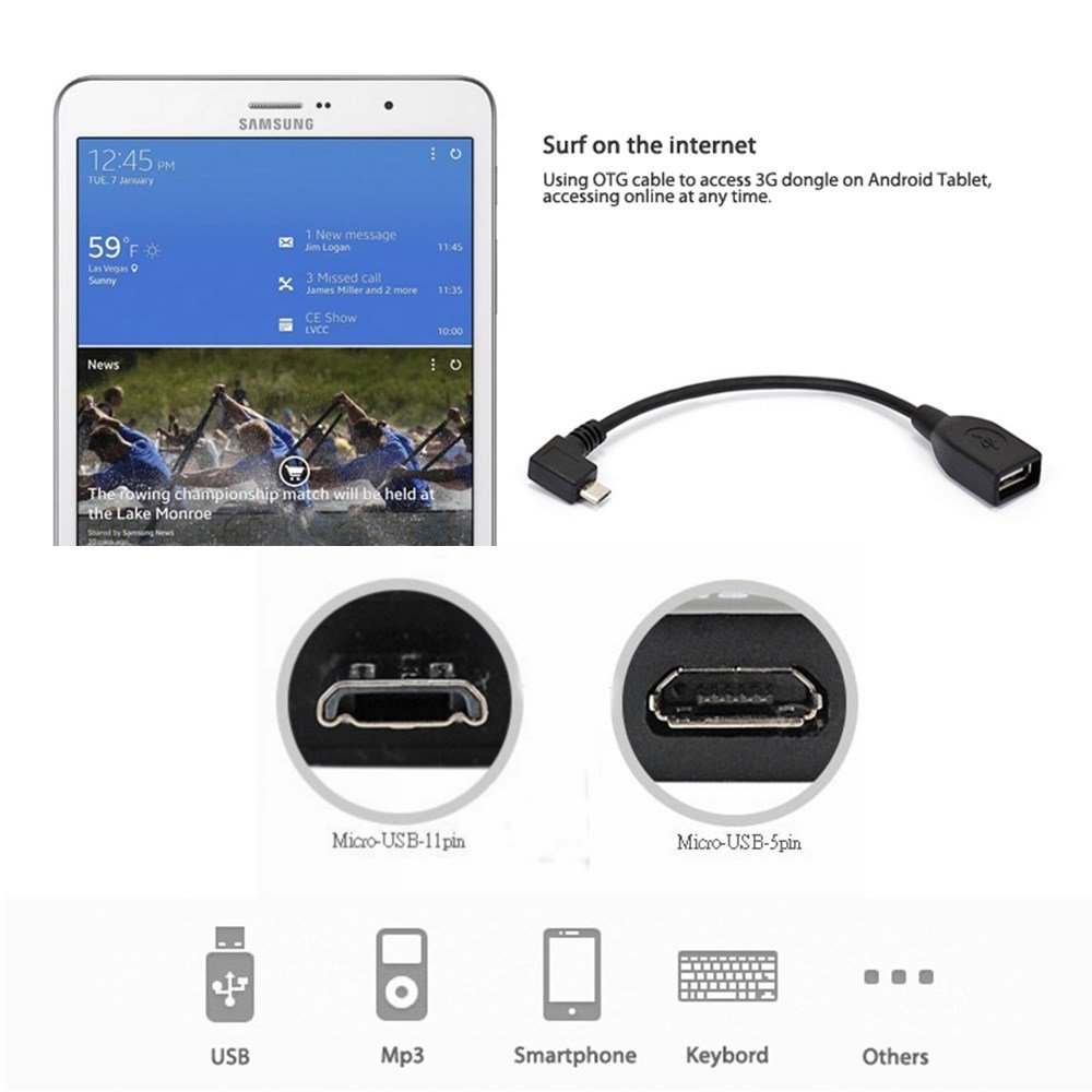 11-Pin On-The-Go to USB 2.0 A Female Adapter Cable for Samsung Galaxy S5 S4 S3//Note 2 8.0 Micro USB 11 Pin 3 10.1//Tab 3 8.0 ~ i9600 i9500 i9505 i9300 i9305 LTE,N7100 N7105 N9000 N9005 GT-N5100 N5110 N5120 6 Inch Samsung 11pin Micro USB OTG