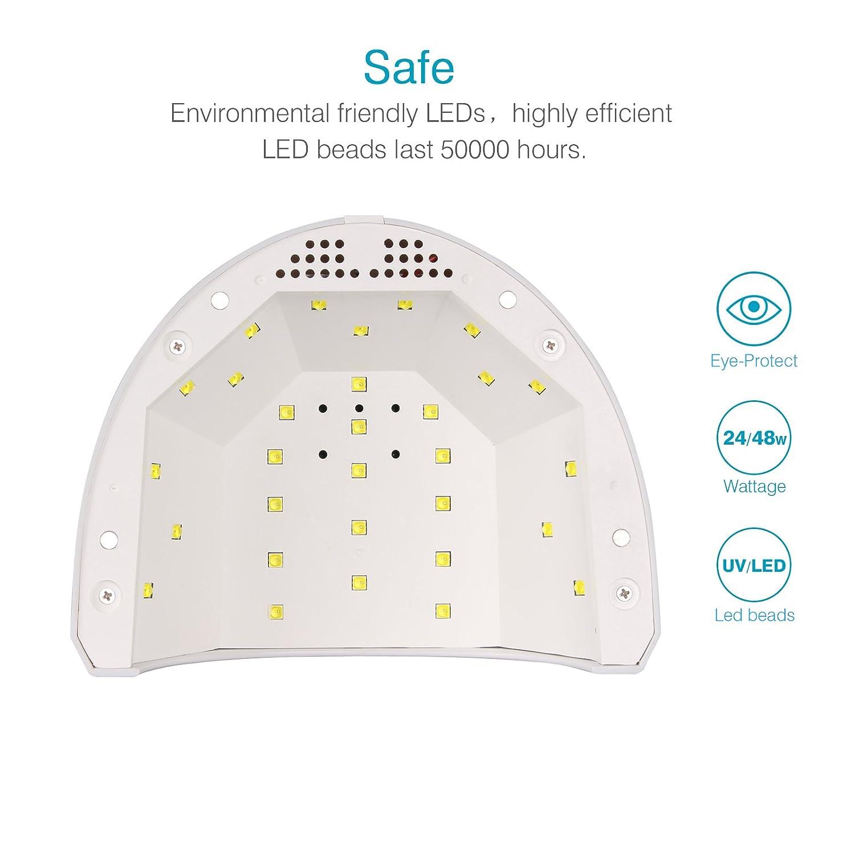 Lámpara de Uñas UV/LED Toplanet 24W/48W Lampara Secador de Uñas con ...