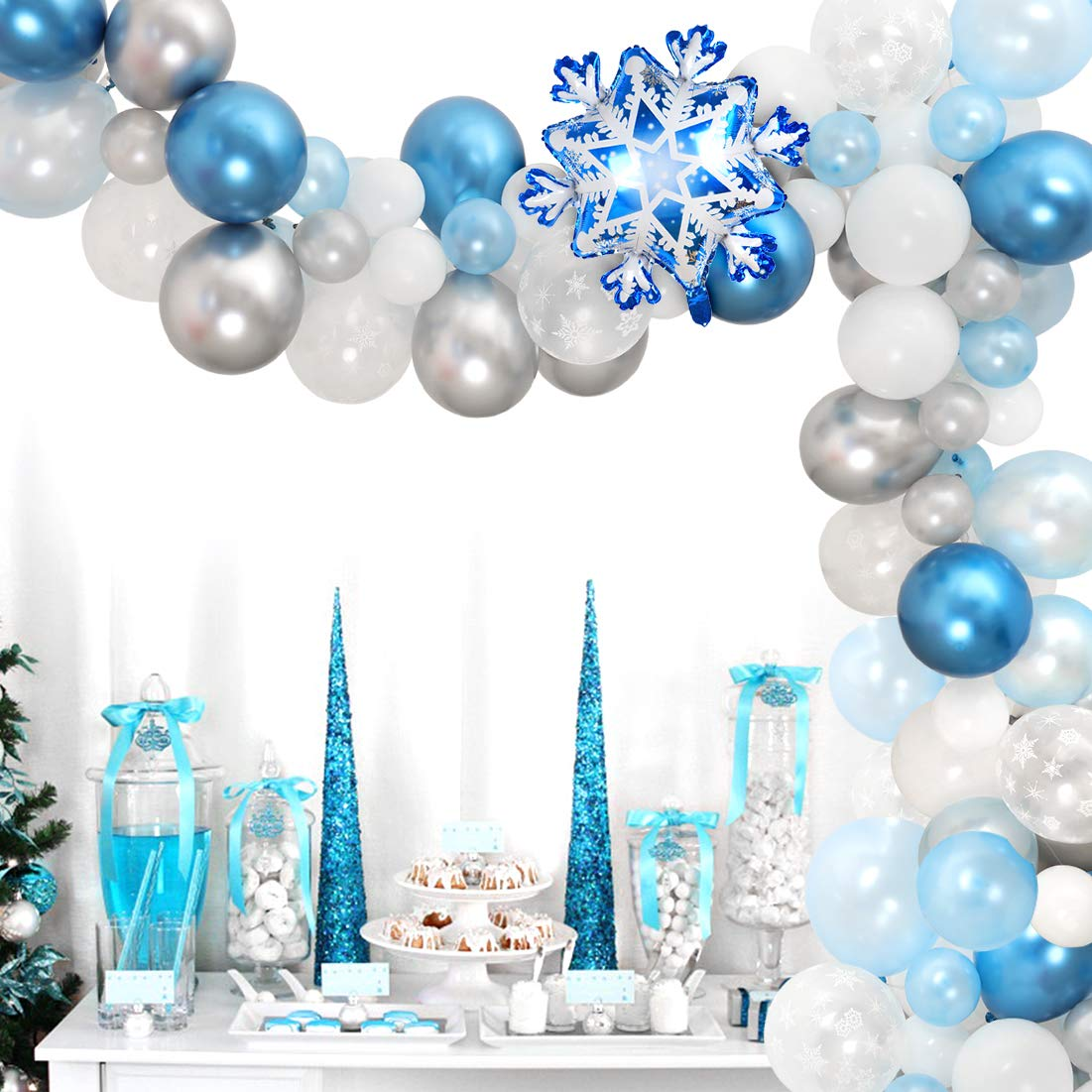 Snowflake Balloon Garland Arch Kit 90 Pack Snowflake Balloons For Winter Wonderland Holiday Christmas Baby Shower Snow Princess Birthday Party