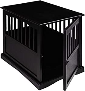 Wooden Furniture Pet Crate, Color Black (Large, Black) by Casual Home