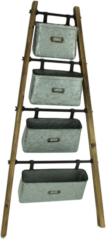 Amazon.com: Escalera de madera con cubos de galvanizada para ...