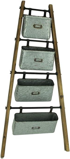 Madera escalera con galvanizado para colgar cubos de almacenamiento para el hogar Decor: Amazon.es: Hogar