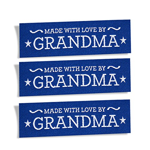 Wunderlabel Made with Love by Grandma Nana Granny Crafting Fashion Woven Ribbon Ribbons Tag Clothing Sewing Sew Clothes Garment Fabric Material Embroidered Label Tags, Blue on White on Blue, 25 ()