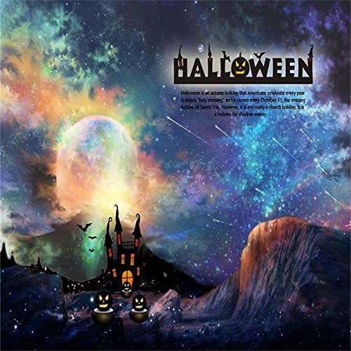 Laeacco 5X5FT Vinyl Thin Backdrop Photography Background Halloween Horror Night Haunted House Moon and Mountain Stars Meteor Night Sky Grimace Scene 1.5(W)x1.5 (H)m Backdrop Video Photo Studio -