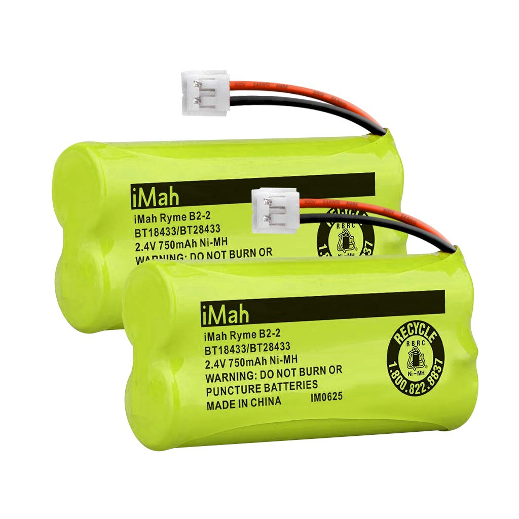 iMah BT18433/BT28433 Cordless Phone Battery, Compatible with AT&T VTech BT184342/BT284342 BT-8300 BT1011 BT1018 BT1022 BT1031 2SN-AAA55H-S-J1 Telephone Batteries, Pack of 2