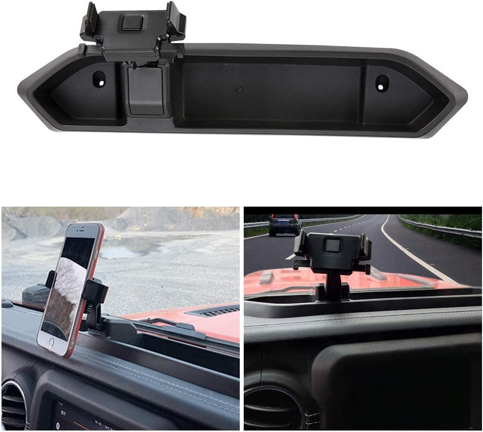 BUNKER INDUST Car Mount Phone Holder with Storage Box for Cell Phones and Mini Tablets,Fits for Jeep Wrangler JL 2018 2019