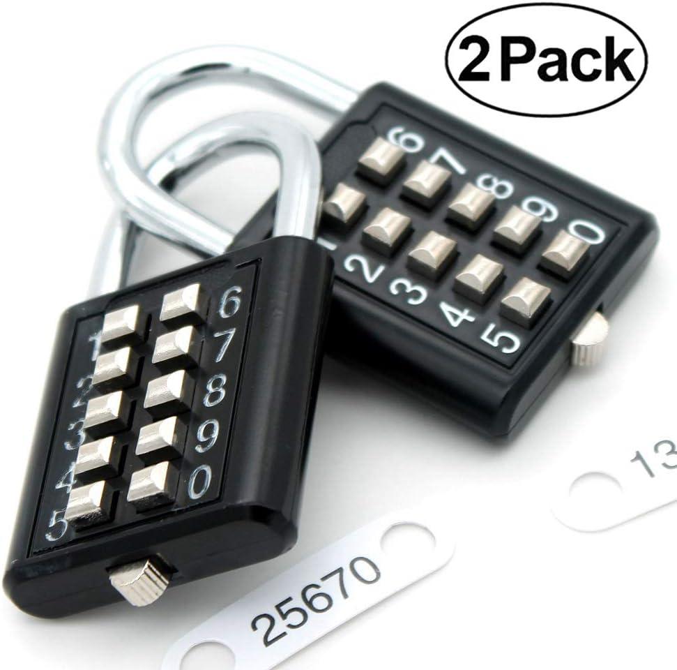 MIONI Guard Security Security 10 cifre a combinazione lucchetto a combinazione rosso, 2 pezzi meccanismo di blocco a 5 cifre,