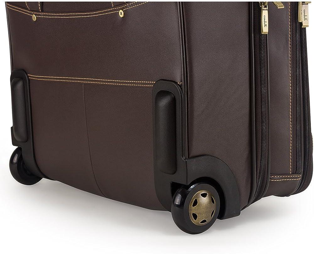 CONDOTTI Full Grain Leather 2 Wheels Trolley Mallette Ordinateur /à roulettes 43 cm