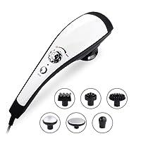 6 Interchangeable Nodes Massager, TEC.BEAN Handheld Deep Percussion Massager with Heat, Variable Speed Adjustment & Anti Slip Design