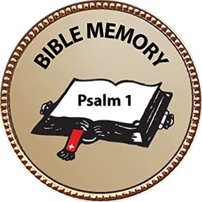 Keepsake Awards Psalm 1 Bible Memory Award, 1 inch Dia Gold Pin Bible Memory Achievements Collection: Toys & Games