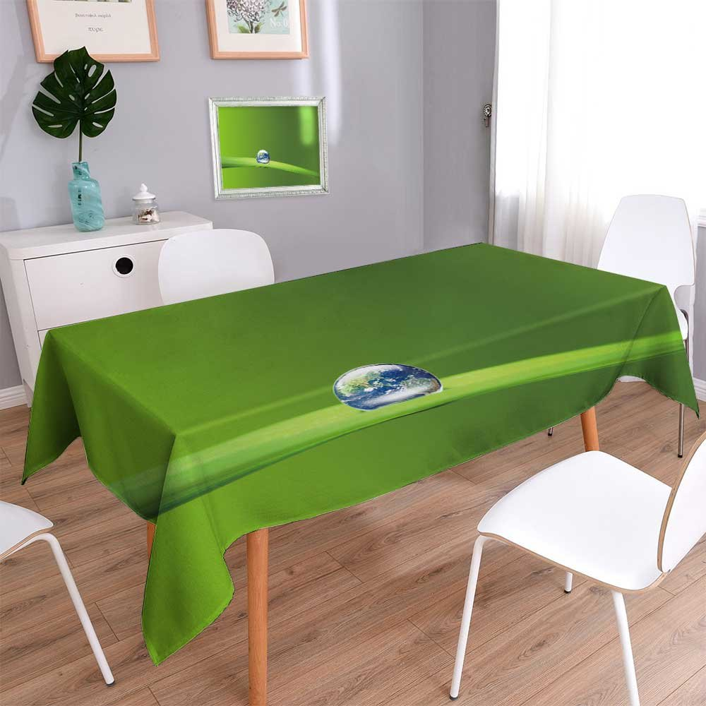 PRUNUSHOME Linen Square Tablecloth Earth in water drop reflection on green leaf,Elements of this image furnished Washable Table cloth Dinner Kitchen Home Decor/54W x 102L Inch