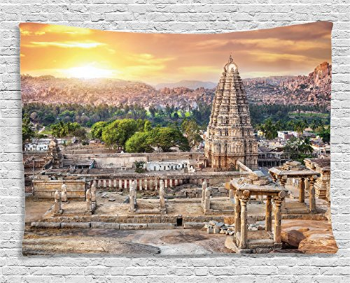 Ambesonne Antique Decor Tapestry Wall Hanging, Viruphaksha Temple View Up from the Hills Sunset above City Buildings Rock Tower Picture, Bedroom Living Room Dorm Decor, 80 W X 60 L, Cream Orange by Ambesonne