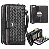 iPhone 6 Plus / iPhone 6S Plus Case, Liujie Woven Skin Leather Zipper Wallet Detachable/Separable Magnetic Back Shell Cover w/ Hand Strap, Card Slots for iPhone6 Plus/6S Plus(5.5