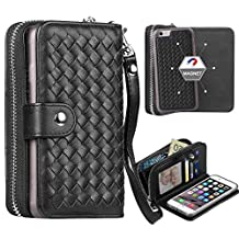 """iPhone 6 Plus / iPhone 6S Plus Case, Liujie Woven Skin Leather Zipper Wallet Detachable/Separable Magnetic Back Shell Cover w/ Hand Strap, Card Slots for iPhone6 Plus/6S Plus(5.5"""") (black)"""