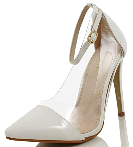 8cef6f17106 Liliana Women's Olga 1A Faux Patent Leather Pointed Toe Lucite Panel Ankle  Strap Heels, White 55 M US
