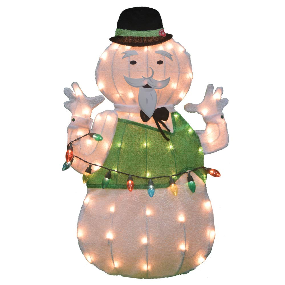 32'' Rudolph 2D Pre-Lit Yard Art Sam The Snowman by ProductWorks