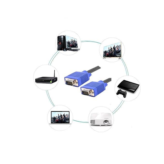 Amazon.com: eDealMax VGA Macho a Cable de Monitor Masculino Cable de extensión 15Pin Azul 25m / 32.1ft Para PC TV: Computers & Accessories