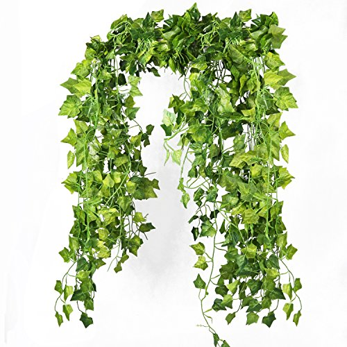 Fake Vines,86 FT Green Plastic Hanging Ivy Garland and Jungle Costume for Outdoor and Artificial Greenery Ivy Leaves for Decoration (Plastic Vine)