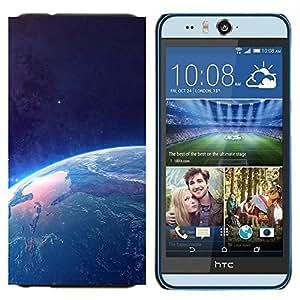 KLONGSHOP // Cubierta de piel con cierre a presión Shell trasero duro de goma Protección Caso - Tierra desde el espacio - HTC Desire Eye M910x //