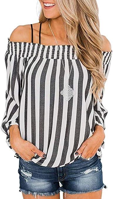 Blusas Mujer Camisa de Mujer Tops Camisetas Rayas Mujer Suelta Mujeres de Moda con Hombros Descubiertos Manga Larga de Cuerno con Mangas Estampadas a Rayas Casual Elegante LiNaoNa: Amazon.es: Ropa y accesorios