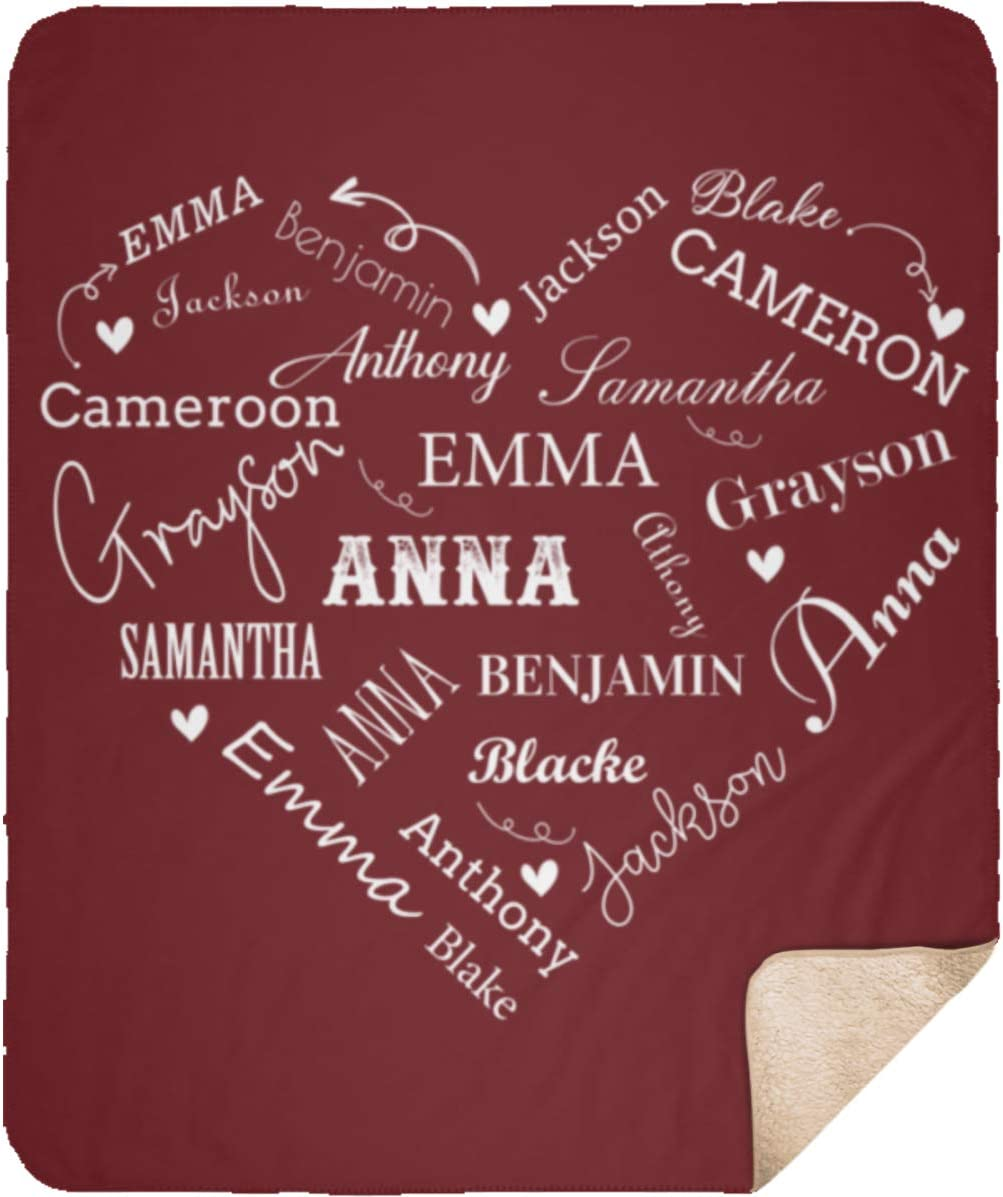 Personalized Name Gift for Couple 50x 60 Sweater Fleece Last Name Blanket CUSTOM Buffalo Check Throw Present for Engagement Wedding