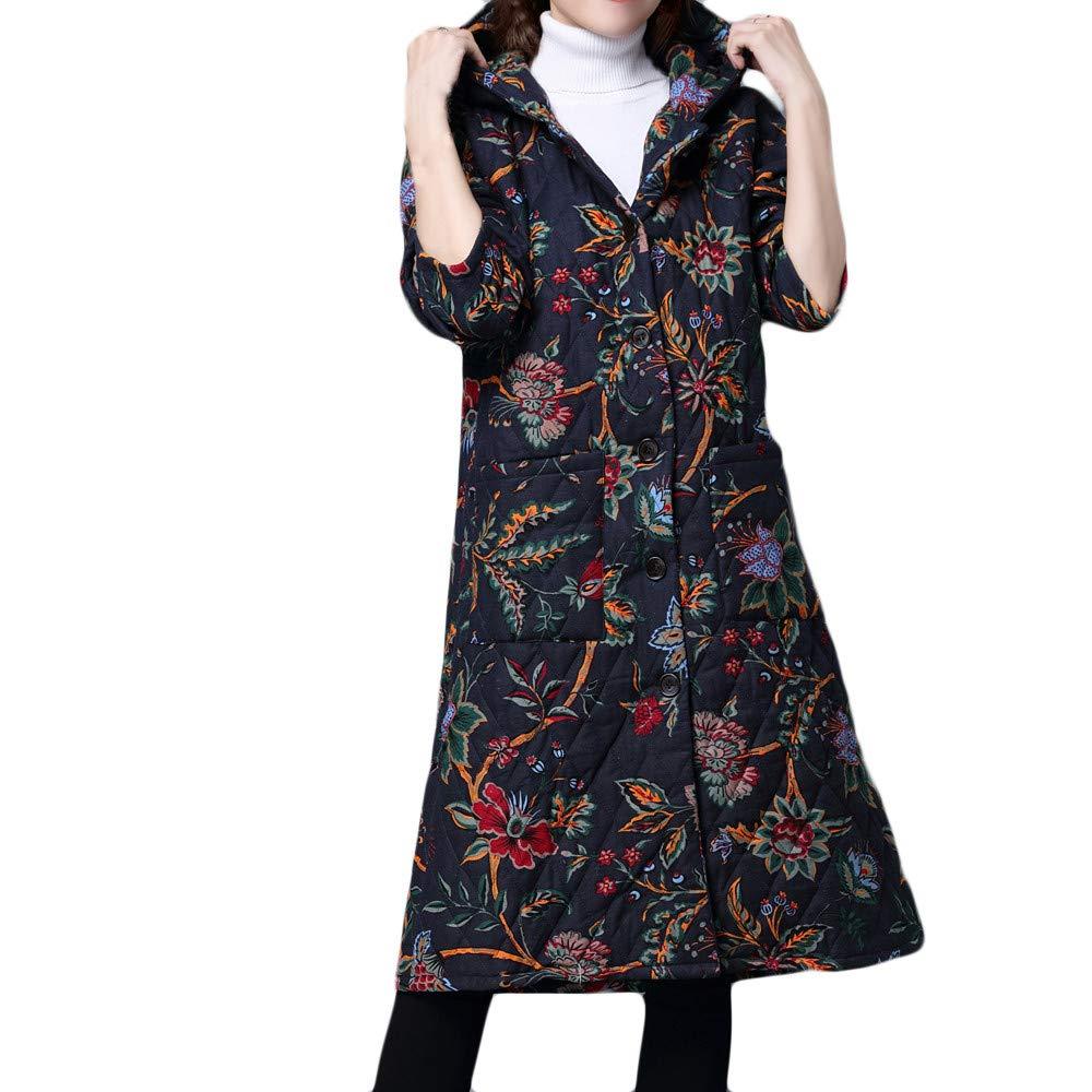 HOOUDO Womens Coat Winter Autumn Warm Fashion Casual Plus Size Folk-Custom Cotton-Padded Jacket Long Puffer Parka Overcoat Outerwear