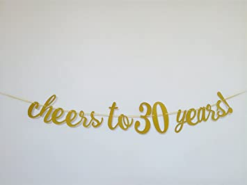 Cheers to 30 years banner happy 30th birthday party decorations