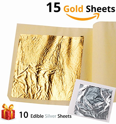 Ian's Choice Edible Gold Leaf Sheets Genuine 24 Karat Gold Sheets (15 Sheets 3.15X3.15 inches with 10 Bonus Pure Silver Sheets) Perfect for Elevate Your Cakes and Gilding