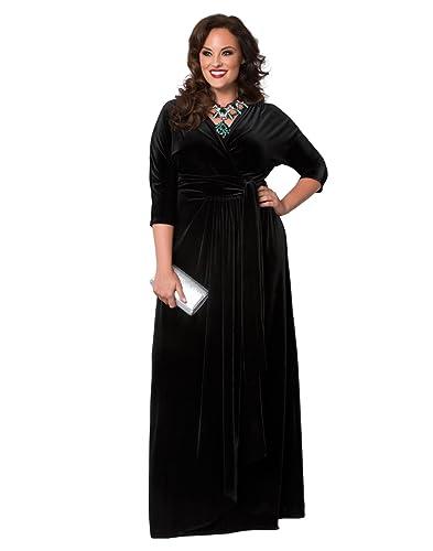 Kiyonna Women's Plus Size Velvet Luxe Wrap Dress
